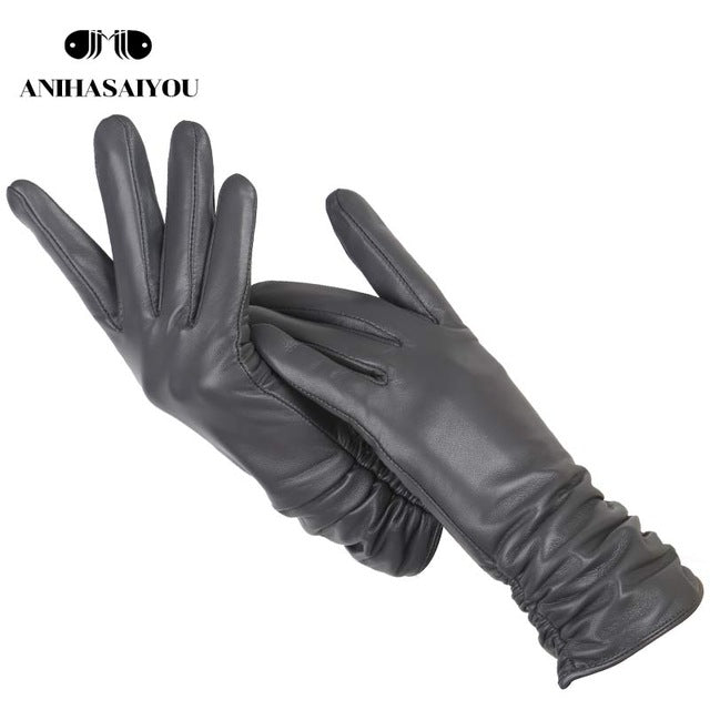 Classic pleated leather gloves women color real leather gloves women sheepskin Genuine Leather winter gloves women-2081