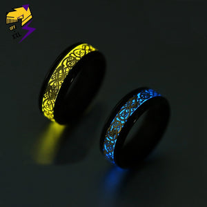 Yellow Glowing Luminous Dragon Rings Men Stainless Steel Glow in the Dark Fluorescent Ring Women Wedding Aneis Fashion Jewelry
