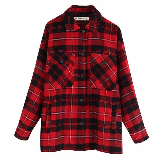 Winter Spring Women Plaid Long Coat Casual Warm Vintage Fashion Ladies Jacket Outwear