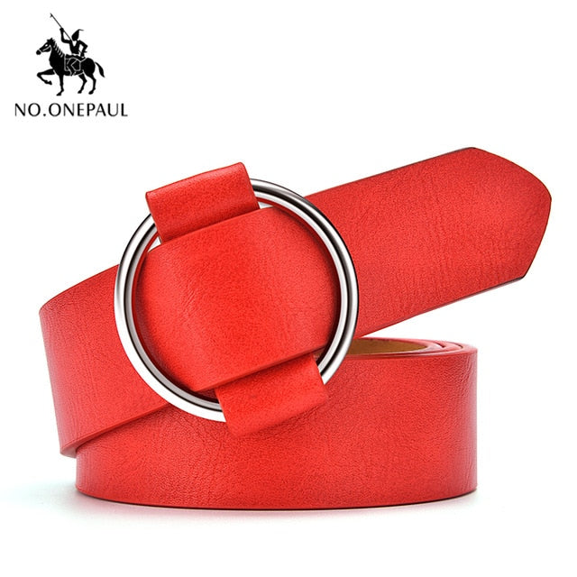 NO.ONEPAUL Genuine quality ladies fashion latest needle-free metal round buckle belt jeans wild luxury brand the women belt for