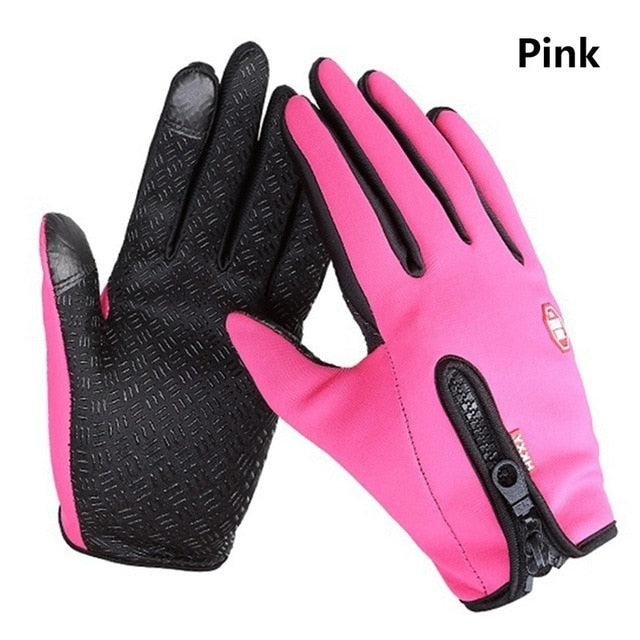 Winter Warm Ski Mens Gloves Women Cycling Touch Screen Waterproof Splash-proof Windproof Fashion Black Gloves Ladies Non-Slip