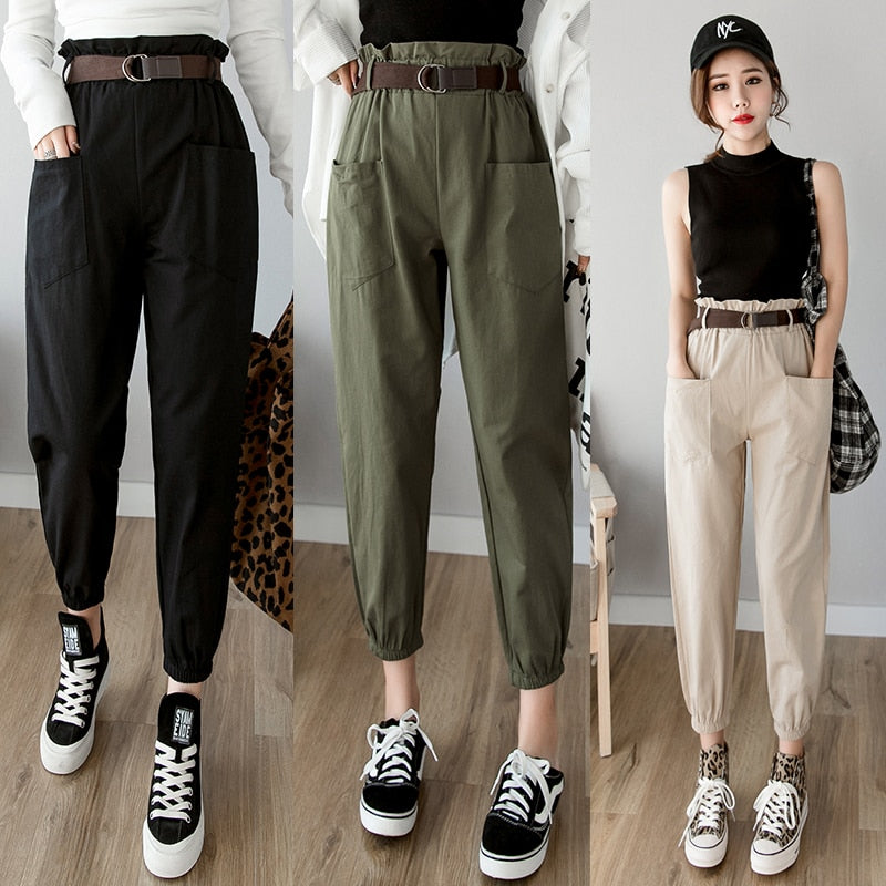 Women pants 2020 spring summer fashion female solid high waist loose harem pant pencil trousers casual cargo pants streetwear