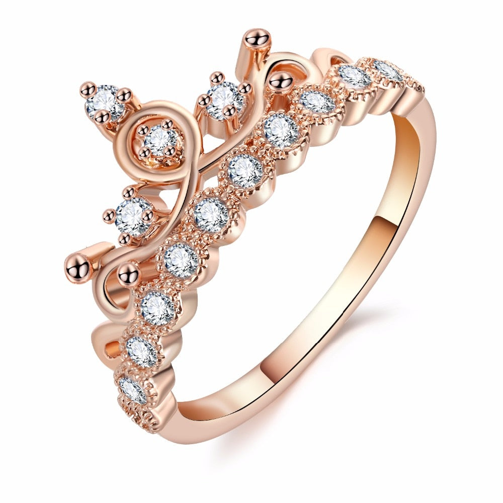 Fashion Luxury Crown Ring Statement Women Wedding Zircon Engagement Ring Trend Rose Gold Silver Color Romantic Party Gift