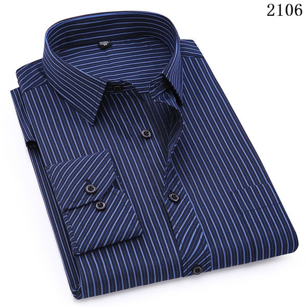 Plus Large Size 8XL 7XL 6XL 5XL 4XL Mens Business Casual Long Sleeved Shirt Classic Striped Male Social Dress Shirts Purple Blue