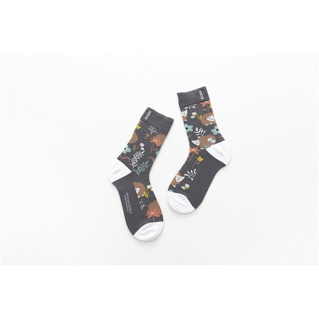 Unisex Painting Style Men Socks 100 Cotton Harajuku Colorful Full Socks Men 1 Pair Gifts Size 35-43