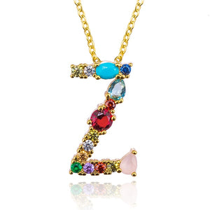 Gold Color Initial Multicolor CZ Necklace Personalized Letter Necklace Name Jewelry For Women Accessories Girlfriend Gift