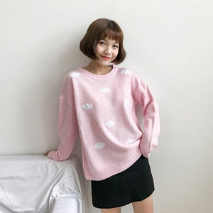 2020 Women'S Kawaii Ulzzang Vintage College Loose Clouds Sweater Female Korean Punk Thick Cute Loose Harajuku Clothing For Women
