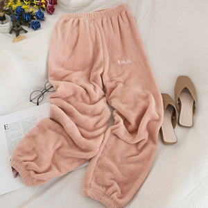 Heliar Winter Warm Velvet Pants For Women Elastic Waist Outerwear Harem Trousers For Women Long Pants Cashmere Loose Pants