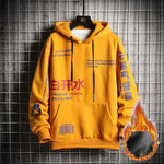 SingleRoad Men's Hoodies Men Winter Fleece Harajuku Japanese Streetwear Hip Hop Yellow Hoodie Men Sweatshirts Sweatshirt Male