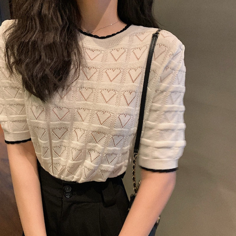 Sale at reserve price Summer New Short Sleeve Knitted Tops INS Fashion Jacquard Love shape Hollow Plaid Thin Soft Pullover Tops