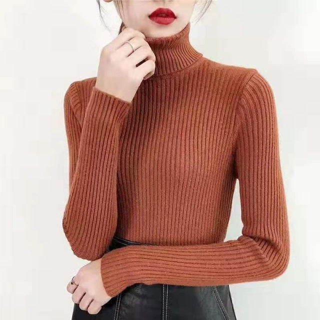 2020 Women Sweater casual solid turtleneck female pullover full sleeve warm soft spring autumn winter knitted cotton