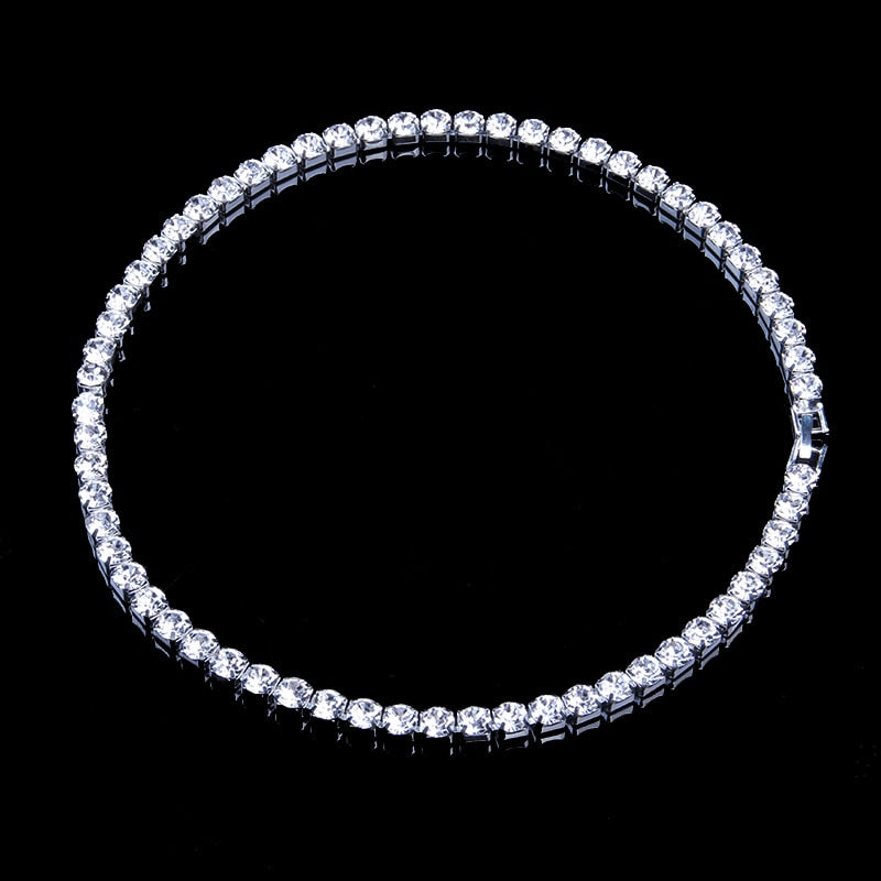 StoneFans tennis necklaces cubic zirconia womens Elegant Choker Necklace Luxury rhinestone Chain Necklace Jewelry Gifts