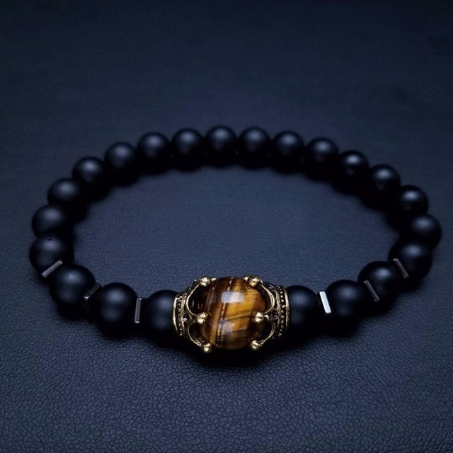 Charm Bracelet for Men Fashion Luxury Antique crown High quality Tiger eye stone bead Bracelets Jewelry Male Pulseira bileklik