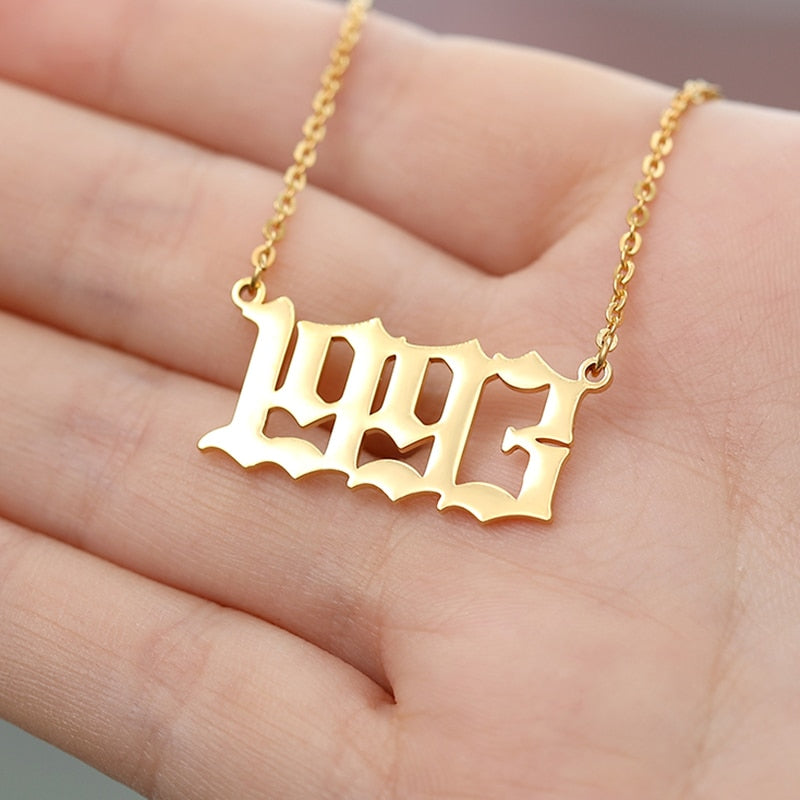 Stainless Steel Year Number Custom Necklaces Pendants For Women Men Gold Silver Color Long Chain Female Necklace Fashion Jewelry