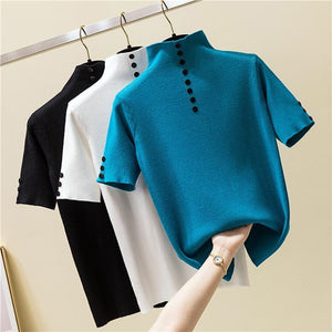 2020 Summer New Women Sweater Pullover Short Sleeve Jumper Female Basic Top Soft Casual Knitted Sweater Elastic Femme Pull P510