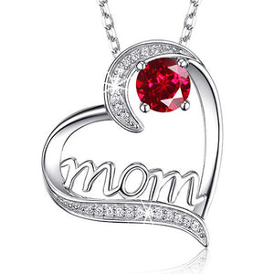"""Mom"" Heart Shape Crystal Necklace - [Lovely_Givings]"