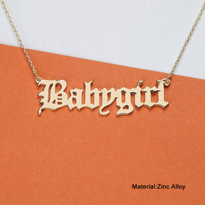 Gold Babygirl Letter Necklace - [Lovely_Givings]