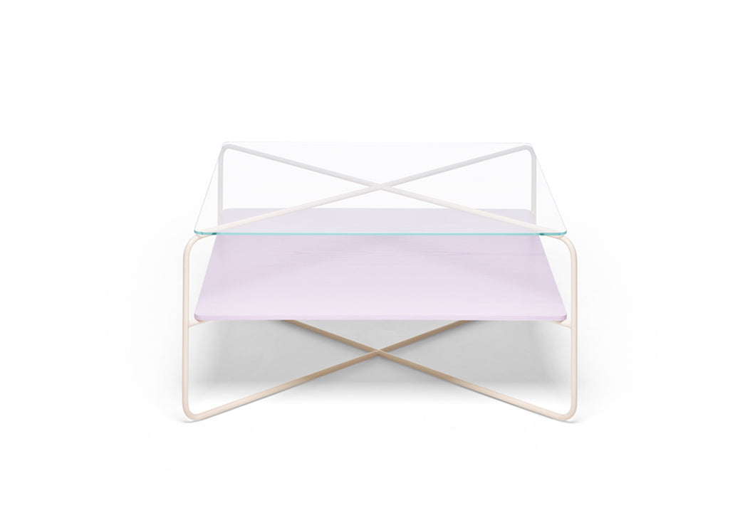 Marabou Coffee Table - Sand frame Lilac tray