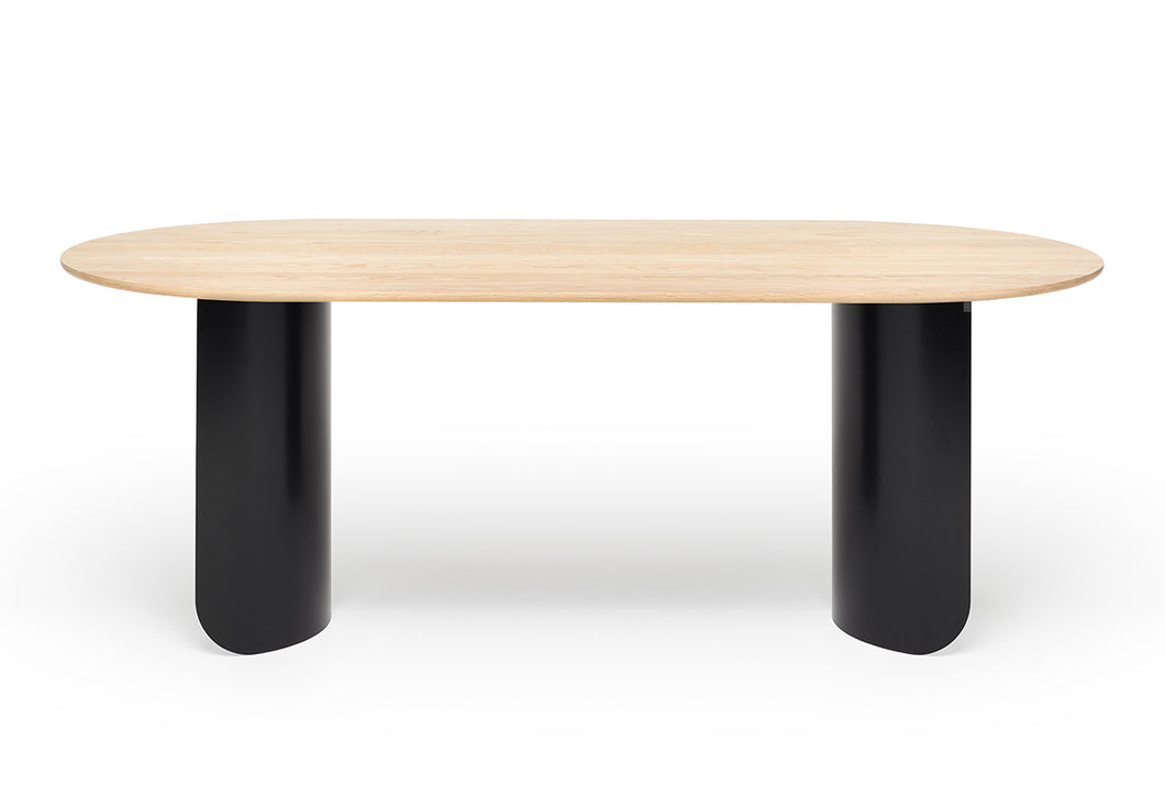Plateau Dining Table Oval - Oak Top - Black Frame