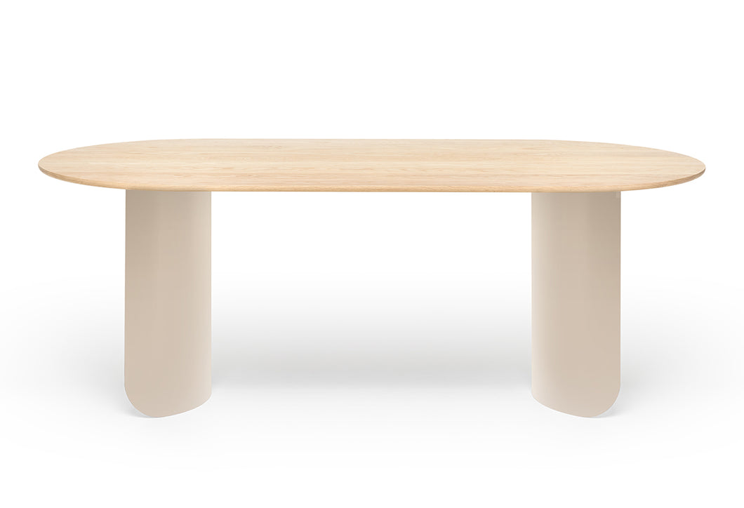 Plateau Dining Table Oval - Oak Top - Sand Frame