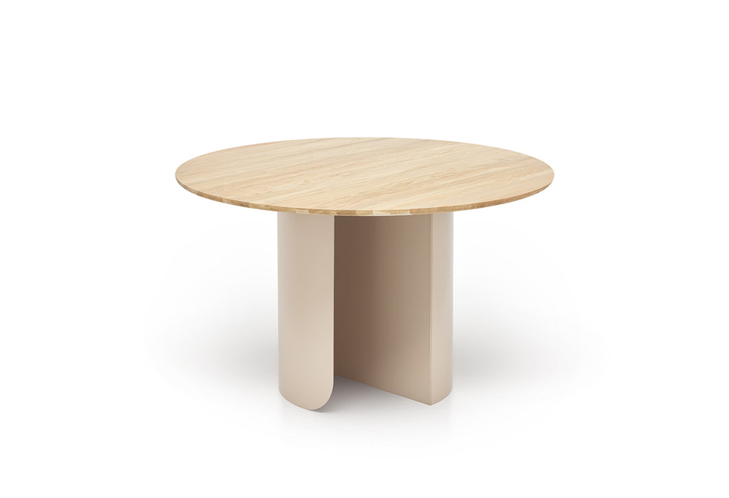 Plateau Dining Table Round - Oak Top - Sand Frame