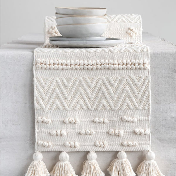 Creative Co-op: Cream Woven Cotton Table Runner w/ Pom Poms & Tassels