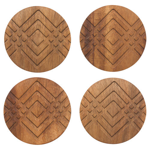 Danica: Acacia Wood Geo Coaster Set