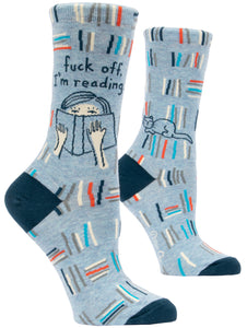 Blue Q: Women's Novelty Socks - Fuck Off, I'm Reading