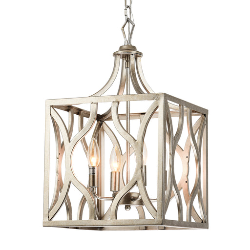 4-Light Rust-Silver Finish, Open-Cubed Cage Rustic Chandelier Pedant Lantern