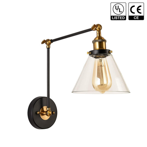 GZBtech 120V Matte Black Gold Finish Up Down Swing Arm Adjustable Wall Light