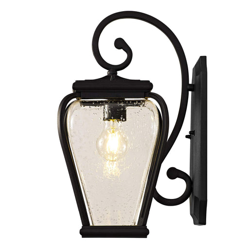 GZBtech Modern Light Wall Sconce in Black Metal Frame with Seed Glass