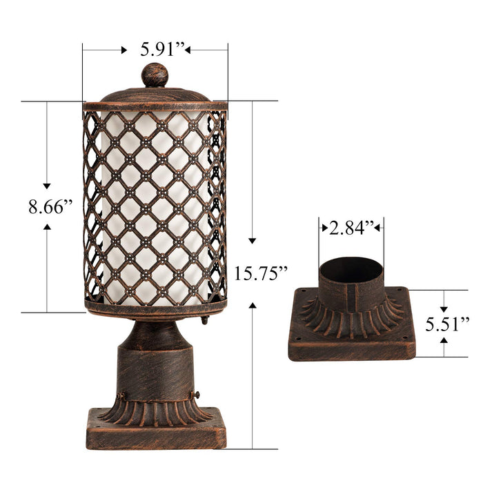 GZBtech 2 Pack 110V Exterior Retro Outdoor Post Light Fixture Pole Lantern