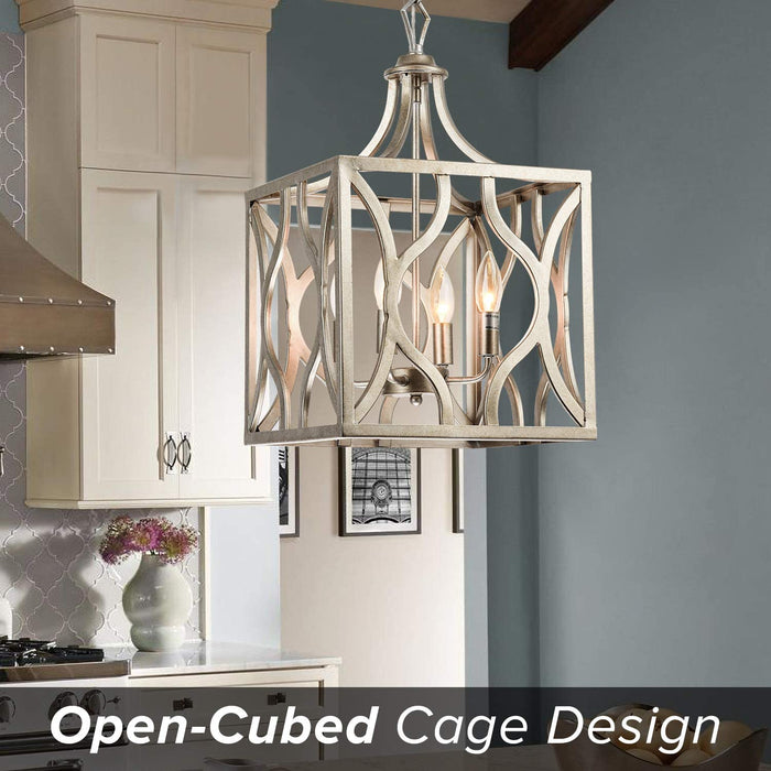 GZBtech 4-Light Rust-Silver Finish, Open-Cubed Cage Rustic Chandelier Pedant Lantern