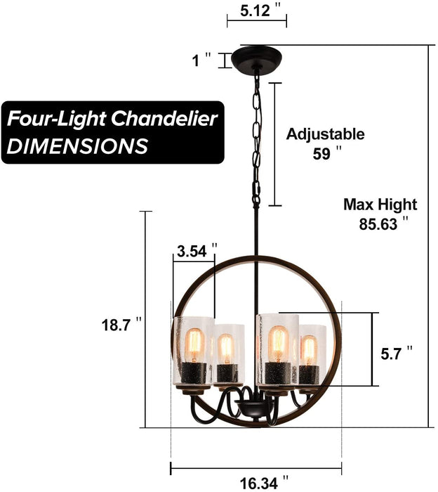 4-Lights Farmhouse Chandelier for Kitchen Island GZBtech