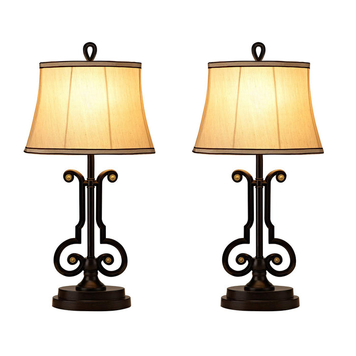 GZBtech 110V Fabric Bronze Metal, 2 Table Lamps and 1 Floor Lamp Set