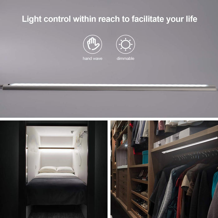 GZBtech 2FT 12V 2 Pcs 6500K Under Cabinet LED Motion Sensor Light Bar