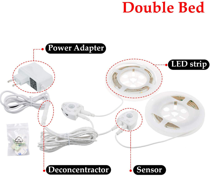 GZBtech 2 x 4FT 12V Warm White Under Bed Motion Sensor Strip Light