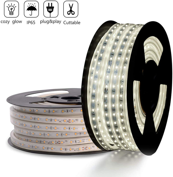 GZBtech 110V 82FT/25M 6500K Cool White LED Strip Light