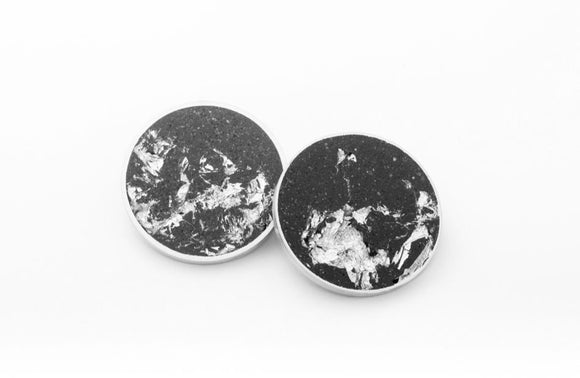 black concrete circular earrings with marbled silver