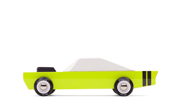 candylab stinger wooden diecast green body white top side view