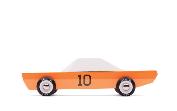Candylab GT-10 wooden diecast car orange body #10 with white top side view
