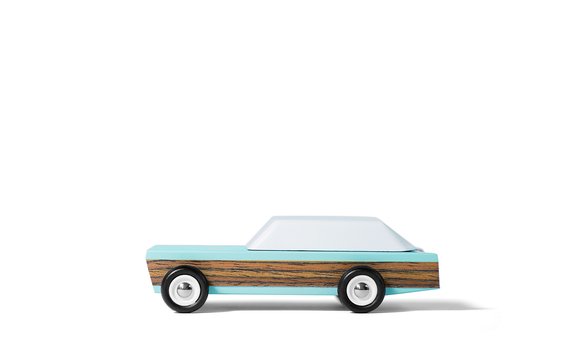 Candylab junior woodie diecast car turquoise and wood grain body with white top side view