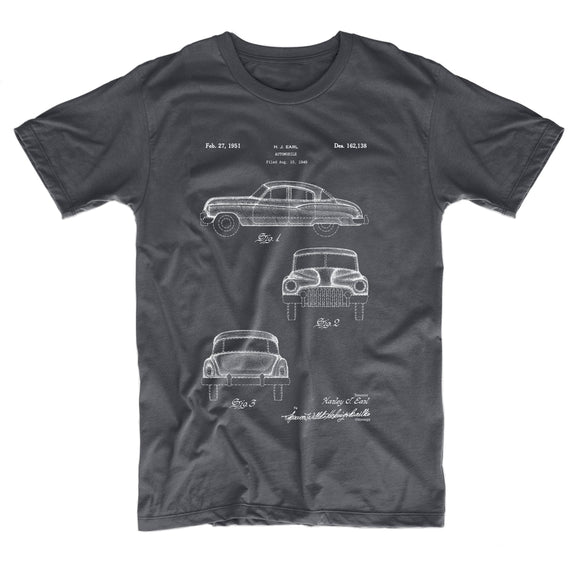 grey t-shirt front with patent drawings for 1949 Buick Super