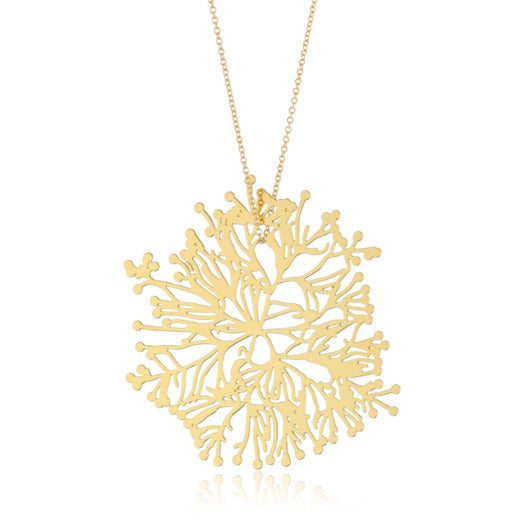 24 karat gold plated Stainless steel pendant with branching forms off a center root inspired by plants and algae