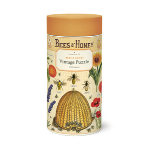bees and honey vintage puzzle in tube packaging with puzzle imagery