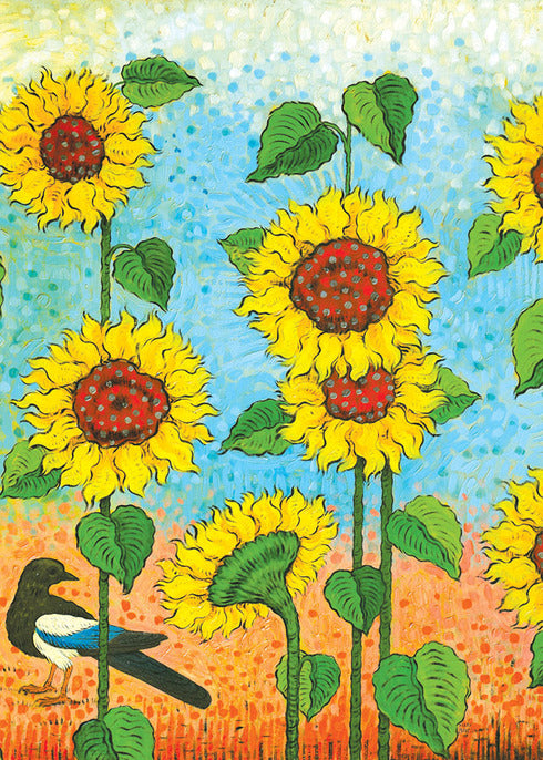 Sunflower & Magpie Notecard