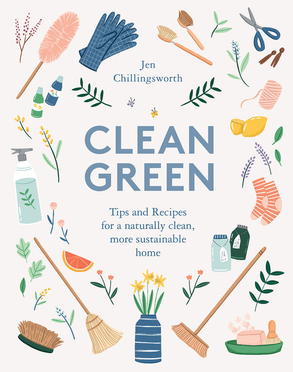 book cover clean green tips recipes naturally clean more sustainable home pastel illustrations plants cleaning supplies