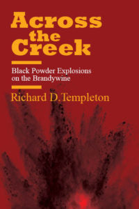 red book cover for across the creek with yellow text and explosion graphic