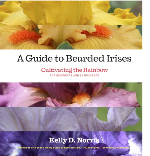 a guide to bearded irises book cover with colorful photographs of irises