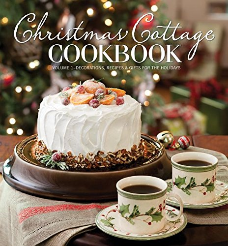 christmas cottage cookbook book cover festive cake with 2 cups of coffee christmas tree in background